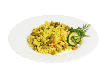 Pilaf with mushrooms on the plate, isolated