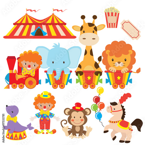 Circus train vector illustration