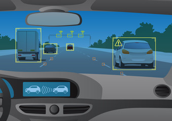 Head up display(HUD) and various information, vehicle interior, vector illustration