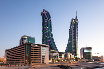 Wall Mural - Bahrain Financial Harbour Towers at dusk