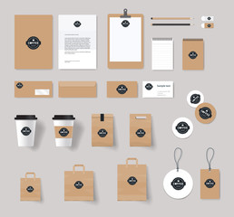 corporate branding identity mock up template for coffee shop and restaurant. card .menu.vector.stationary.packaging,black.paper