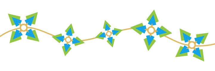 Wave Star Circle Green Blue Pattern Horizontal
