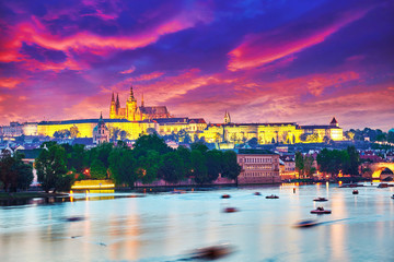 Beautiful view of the Prague Castle from the Charles Bridge.Prag