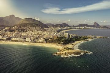 Aerial view of peninsula on the beach in Rio de Janeiro