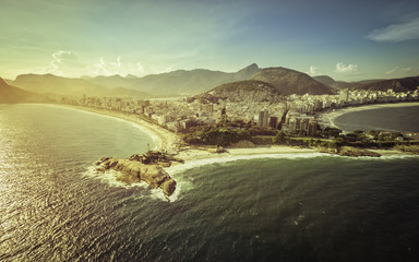 Aerial view of peninsula on the beach in Rio de Janeiro