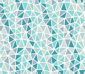 Repeat and seamless pattern created with soft edges triangles, colors teal, blue, green, gray