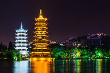 Sun and Moon twin double pagodas and Shanhu lake in  Guilin