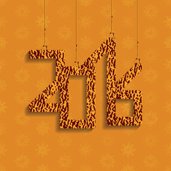 The numbers 2016 with shadow. A bright orange color.