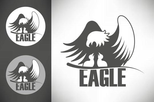 Bald eagle in the nest logo