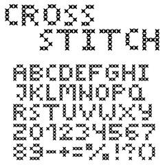 The Latin alphabet. Large black English letters. Cross-stitch.