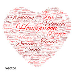 Vector conceptual Valentine heart word cloud