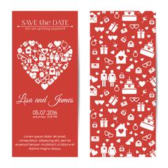 Vector vertical wedding invitations
