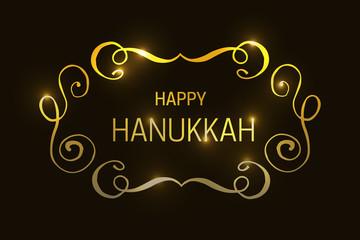Happy Hanukkah golden logotype, badge and icon typography