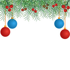 Christmas decorations and leaves border design