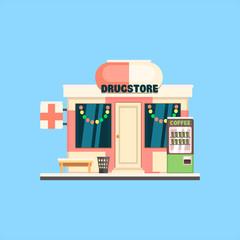 Drugstore Front in Christmas. Vector Illustration