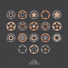 set of military badges with stars and pentagon frames isolated on gray background. vector logo, emblem design