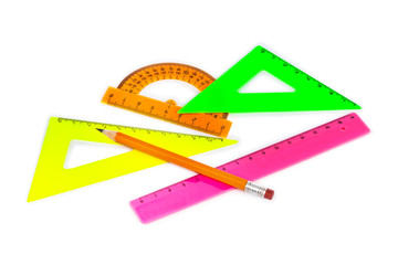 Multicolored rulers and pencil
