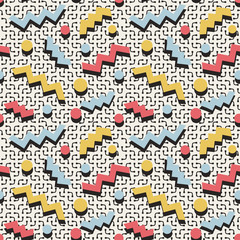 Vector Seamless Retro 80's Memphis Fashion Style Jumble Color Shapes Pattern on  White Background