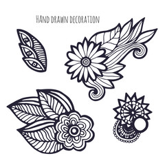 Hand drawn flowers. Coloring page decoration. Vector set with whimsical flower