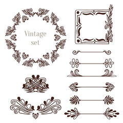 Vintage frames and border elements. Vector decoration collection