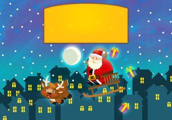 Cartoon santa flying over town - illustration for the children
