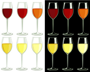 Vector set of glasses with different drinks. All objects are isolated.