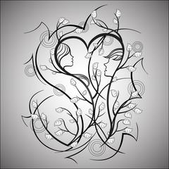 Man and woman, love tree.