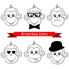 Monkey, chimp face, icons, logo. Vector illustration
