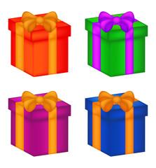 christmas box, gift icon set, symbol, design. vector illustration isolated on white background.