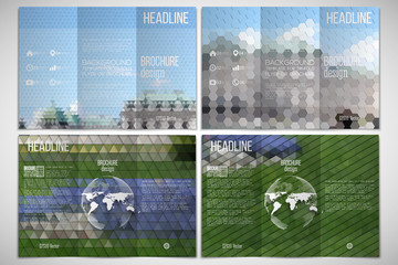 Vector set of tri-fold brochure design template on both sides with world globe element. Park landscape. Abstract multicolored backgrounds. Geometrical patterns. Triangular and hexagonal style