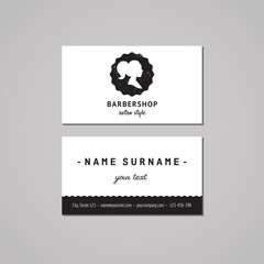 Barbershop business card design concept. Barbershop logo with long ponytail hairstyle woman profile. Vintage, hipster and retro style. Black and white. Hair salon business card.