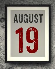 August calendar on the photo frame