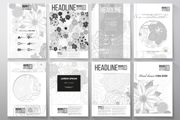 Set of business templates for brochure, flyer or booklet. Hand drawn floral doodle pattern, abstract vector background