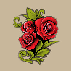 Bouquet of red roses – Stock Illustration