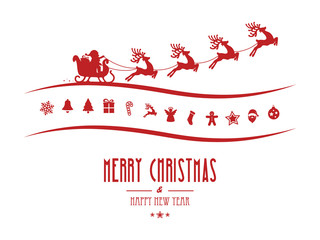 merry christmas elements santa sleigh isolated background