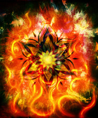 oriental ornamental mandala and color abstract background with fire flame, Red, orange, black color