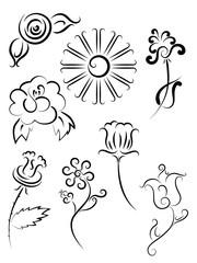 Tattoo flower set