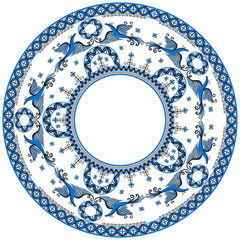 Circular ornament with decorative elements of cosmogonic traditional folk art of northern region of Russia. Mezensky blue firebirds. Illustration, vector