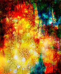 oriental ornamental mandala and color abstract background with spots.