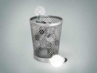 light bulb near a bin with other lamps; concept of lost idea