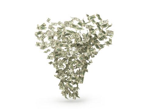 Dollar bills tornado. 3D render isolated