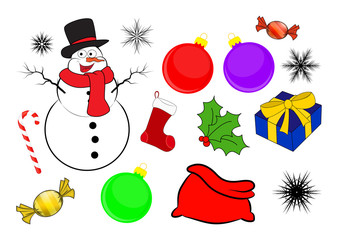 Christmas icon set, symbol, design. Winter vector illustration isolated on white background.