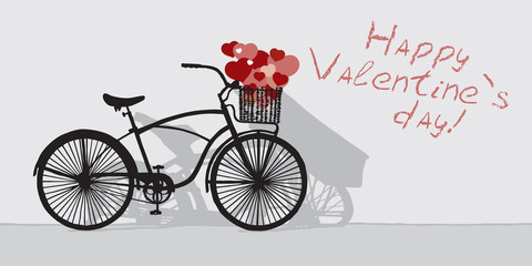 Drawn bicycle on the background of the inscription Happy Valentine's day