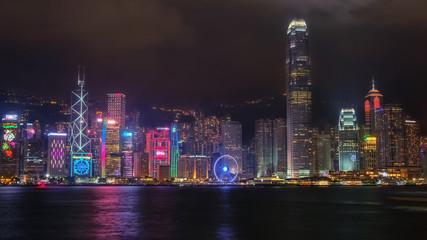 Hongkong-Skyline mit Weihnachtsbeleuchtung