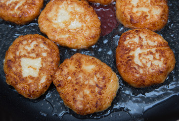 cheese pancakes fried in oil