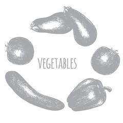 Realistic hand drawn vegetables, set of fresh healthy organic food