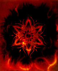 ornamental mandala, color abstract background with fire flame, LAVA structure, Red, orange, black color.