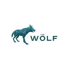Wolf Low poly poligonyn style vector illustration logo in blue shades of the quality mark