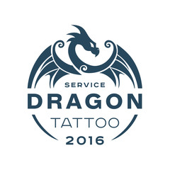 Dragon logo tattoo service in style the flat of one color