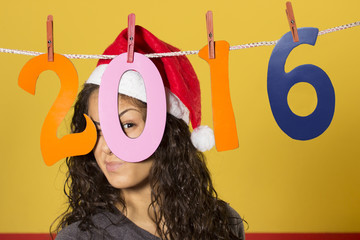 Happy new year / Young woman in a new year party